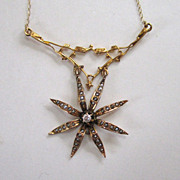 SALE Victorian 14K Yellow Gold Diamond Seed Pearl Starburst Pendant