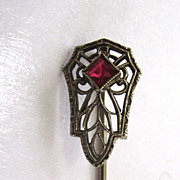 SALE Art Deco 10K White Gold Filigree Red Spinel Stick Pin
