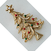 SALE Gerry Goldtone and Enamel Christmas Tree Brooch/Pin