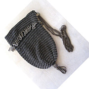 SALE Steel Beaded Black Crocheted Purse