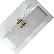 SALE Frosted Lucite Floral Purse with Clear Lid and Handle