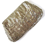 SALE Silver-Tone Mesh Envelope Clutch Purse with Rhinestone Clasp