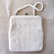 SALE Delill White Beaded Handbag