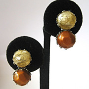 SALE Dalsheim Bronze and Beige Double Ball Earrings