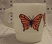 Anchor Hocking Orange Monarch Butterflies Stackable Mug