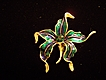Pretty Blue and Green Enameled Flower Brooch with Crystal Center