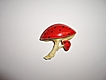 Cute Vintage Mushrooms Red Enameled Brooch