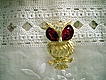 Red Rhinestone Large Eyed Owl Brooch