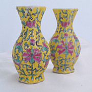 Pair of Antique Chinese Famille Jaune Miniature Vases