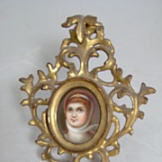 c.1870 Portrait on Porcelain in Italian Gilt Frame