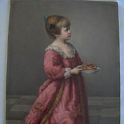 SALE 1870 Large KPM Plaque Little Girl