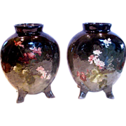French Haviland Limoges Pair Barbotine Vases Signed by Auteuil Artist Jules Habert-Dys, Faienc