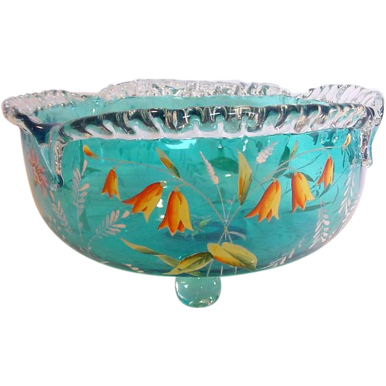 English bright blue footed art glass centerpiece bowl enameled flowers from - Footed bowl centerpiece ...