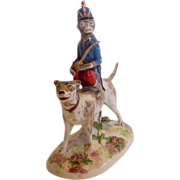 French Old Paris Vincent Dubois La Courtille Figurine Dog w Circus Monkey Applied Flowers c ..