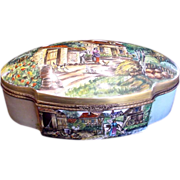 SALE French Limoges HUGE Hinged Box Scenic Landscapes Artist Caffy c 1960