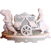 English Minton Huge Figural Group Wheeled Basket Celadon & White Glaze Early Pate-Sur-Pate 18