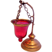 French  Hanging Cranberry Art Glass Night Light Candle Holder Brass Stand c 1930