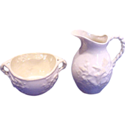 Irish Belleek Small Open Sugar & Creamer Jug Ivy c 1926 � 1946