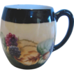 French Limoges Mugs Hand Painted Blackberries Berries Set of 4 c 1900