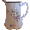 French Haviland Limoges 6  Water or Milk Pitcher Pink & Blue Poppies c 1894 to 1930