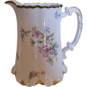 French Haviland Limoges 6 �� Water or Milk Pitcher Pink & Blue Poppies c 1894 to 1930
