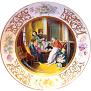 French Limoges Hand Painted Scenic Charger of 17th Century Family Drinking Chocolate Artist ..