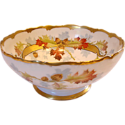 French Limoges Centerpiece or Serving Salad Bowl Hand Painted by Chicago Studio Artist Edith A