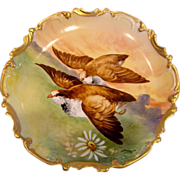 French Limoges Hand Painted Plaque Charger Predator Hawks Birds in Flight Signed Duval c 1906