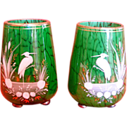 Bohemian Pair Small Art Glass Vases Mottled Green w Hand Enameled Herons Birds c 1920