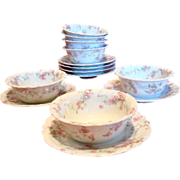 French Limoges Haviland Set of 7 Ramekin & Under Plates Pink Flowers Blue Ribbons C 1893 - 193