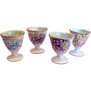 French Limoges Set of Four Tiny Footed Eggcups Egg Cups Hand Painted Roses Violets c 1890 - 19