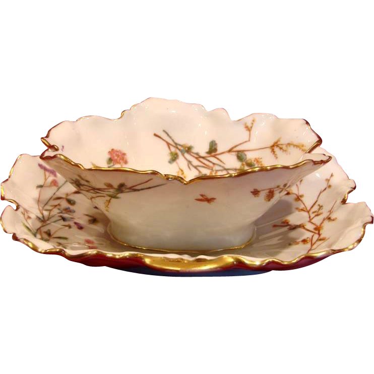 French Haviland Limoges Leaf Blank Sauce Boat Meadow Visitor Insects Flowers c 1876 - 1889