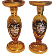Venetian Glass Bischoff Pair 9 3/8� Candlesticks Amber w Gold & Applied Flowers c 1958