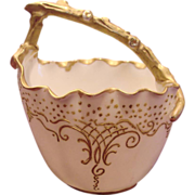 French Porcelain Sugar Basket w Twig Handle Gold & White c 1890