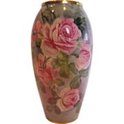 French Limoges 6 �� Vase Hand Painted Artist Signed Pink Roses c 1930 - 1939
