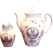 German Tielsch Coffee or Tea Pot & Creamer w a Polish Scene of Congress of Gnie&#378;nie&#324;ski in Gnesen c 1900 - 1934
