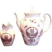 German Tielsch Coffee or Tea Pot & Creamer w a Polish Scene of Congress of Gnieźnień