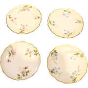 French Haviland Limoges Set 4 Hand Painted 4 Muffin Plates Pink or Blue Flowers c ...
