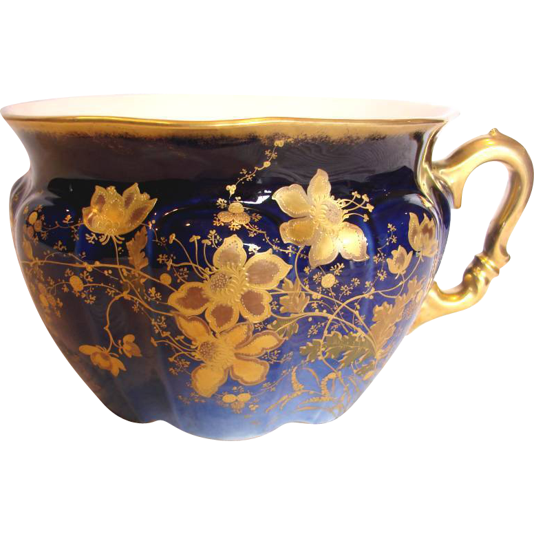 French Limoges Commode Chamber Pot Cobalt w Hand Enameled Gold Flowers c 1882 - 1896