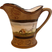 German Bavarian Royal Bayreuth Cream Pitcher Landscape Scene Cows Water c 1902 - 1957