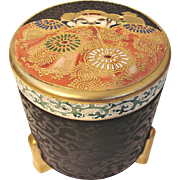 Japanese Asian Satsuma Footed Tall Round Box Unusual Meiji Pre-1900