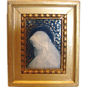 French Limoges Small Framed Porcelain Plaque Side Profile of Virgin Mary c 1925 - 1935