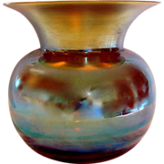 German WMF Myra Art Glass Iridescent Vase Spittoon c 1930