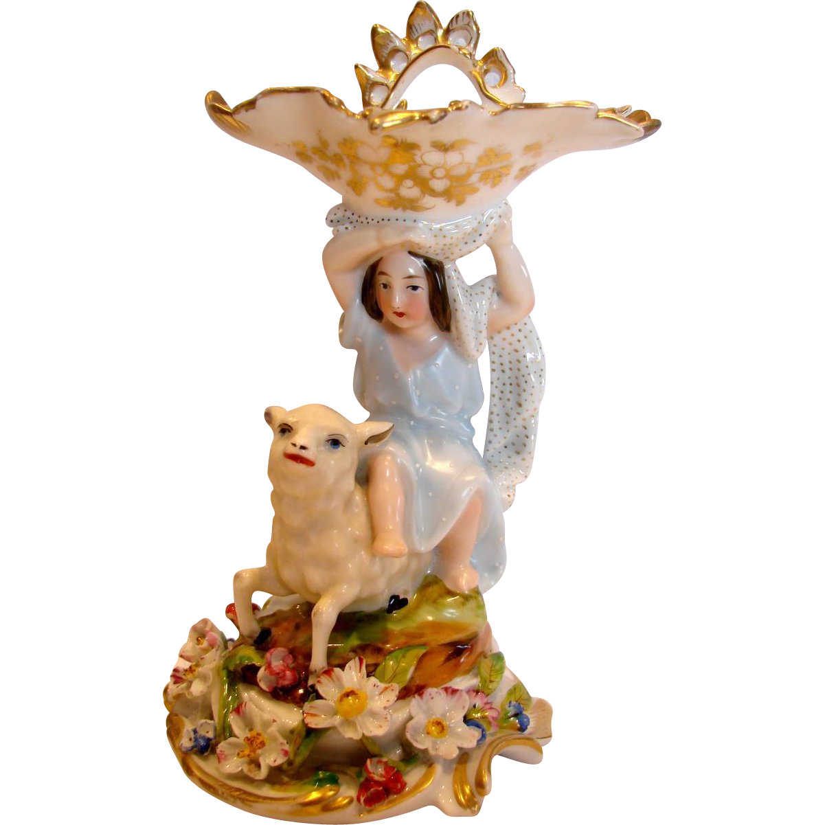 Belgium Andenne Jules Doth�e-Jamar Figurine Girl on Sheep Applied Flowers c 1863 - 1864
