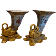 German Pair of Cornucopia Horn Vases w Figural Swan Birds Hand Painted Flowers c 1890