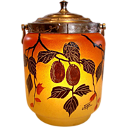 French Joma Art Glass Pate Verre Hand Painted Nuts & Leaves Cookie Jar w Metal Lid Art Deco Si
