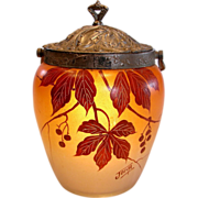 French Joma Art Glass Pate Verre Hand Painted Red Currants Berries & Leaves Cookie Jar w Metal