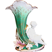 French Old Paris 16� Large Trumpet Vase w Bisque Girl & Bird c 1870