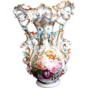 French Old Paris 17� Ornate Display Vase Hand Painted Roses Ram or Goat Heads on Sides w Porce
