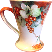 Austrian Vienna Left-Hand Hand Painted Cider Mug Red Currants Artist Signed c 1890 - 1910